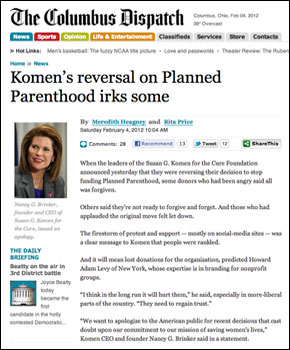 Komen's reversal on Planned Parenthood irks some