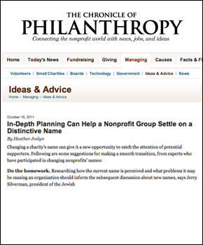In-Depth Planning Can Help a Nonprofit Group Settle on a Distinctive Name